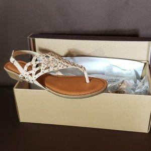 Tan rhinestone accent sandals